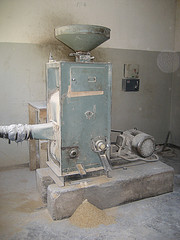 Rice polishing machine at Sefula rice scheme association in Sefula, Zambia. Photo by Kate Longley, 2013.