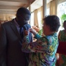 The insignia of the Chevalier of Légion d'honneur – France's highest distinction –was conferred on Dr Papa Abdoulaye Seck  by Madame Kuster-Ménager, Ambassador of France in Benin, in a brief ceremony in Cotonou on 22 November 2013.