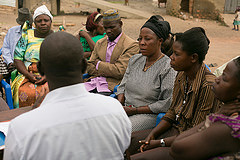 Gathering of village leaders, Kachanga village, Uganda. Photo by Ryder Haske, 2013.