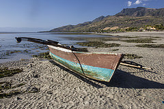 A fishing boat on the shore of Atauro island, Timor-Leste. Photo by Holly Holmes