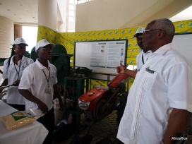 AfricaRice showcasing improved seed, machinery and tools