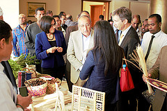 Aswan Governor and Swiss Ambassador inspecting local products from Aswan in a 'marketplace' at the project launch, Egypt. Photo by Malcolm Dickson/WorldFish.