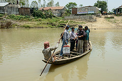 Travelling in target group area in Sunamgunj, Bangladesh. Photo by Finn Thilsted.