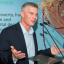 Dr David Bergvinson, new ICRISAT Director General, addressing senior management, scientists and staff at the ICRISAT global headquarters in Hyderabad, India, and virtually, at various ICRISAT locations in Africa.