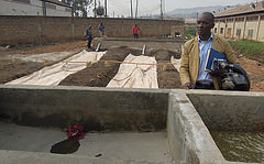 Setting up a biogas collection system at Wambizzi abattoir in Kampala, Uganda